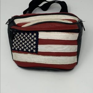 Real leather American flag Fannypack